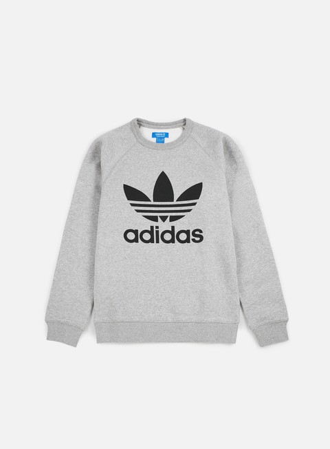 felpe adidas originals trefoil crewneck medium grey heather black