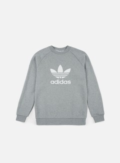 Adidas Originals - Trefoil Crewneck, Medium Grey Heather/White