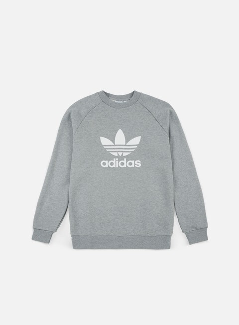 felpe adidas originals trefoil crewneck medium grey heather white