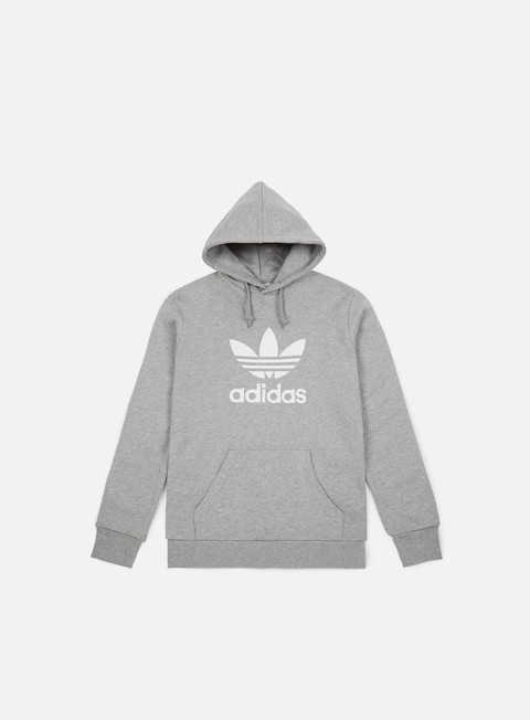 felpe adidas originals trefoil hoodie medium grey heather white