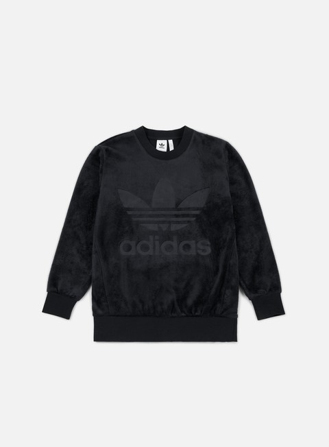 felpe adidas originals velour crewneck black