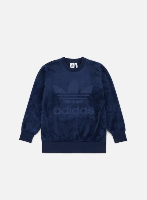 felpe adidas originals velour crewneck collegiate navy