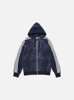Adidas Originals - Velour Zip Hoodie, Legion Ink 1