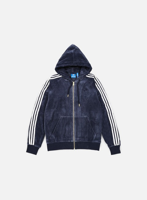 felpe adidas originals velour zip hoodie legion ink