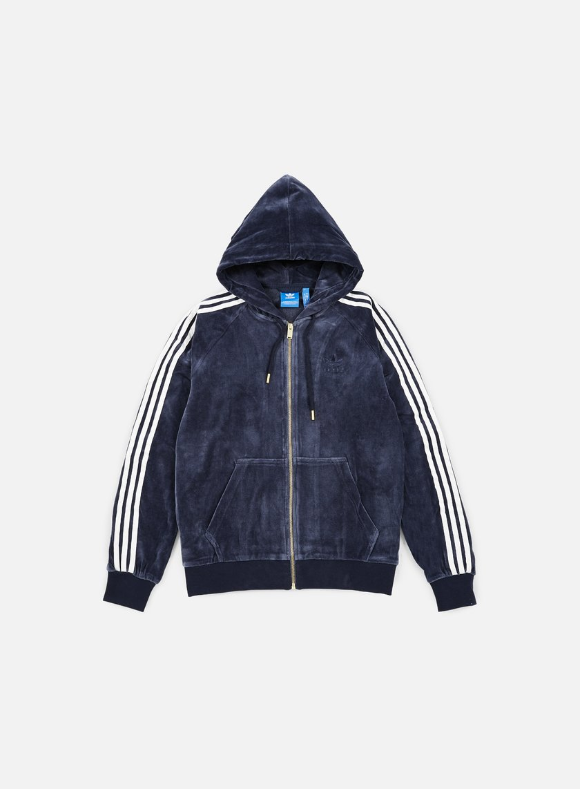 Adidas Originals - Velour Zip Hoodie, Legion Ink