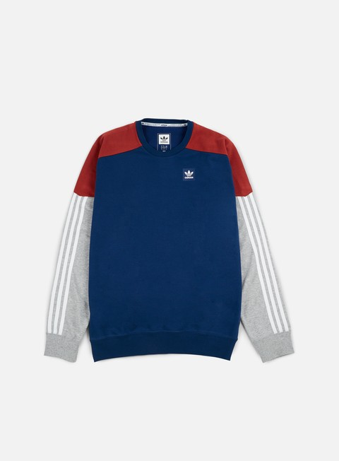 felpe adidas skateboarding climalite nautical crewneck mystery red mystery blue medium grey heather