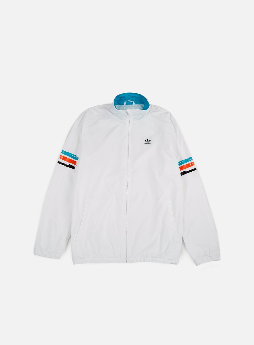 Adidas Skateboarding - Courtside Jacket, White/Energy Blue