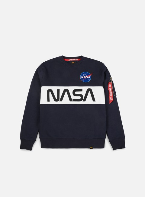 felpe alpha industries nasa inlay crewneck replica blue