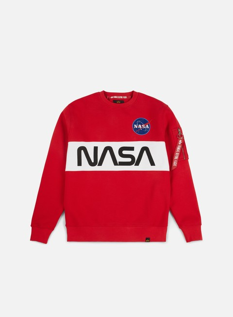 felpe alpha industries nasa inlay crewneck speed red