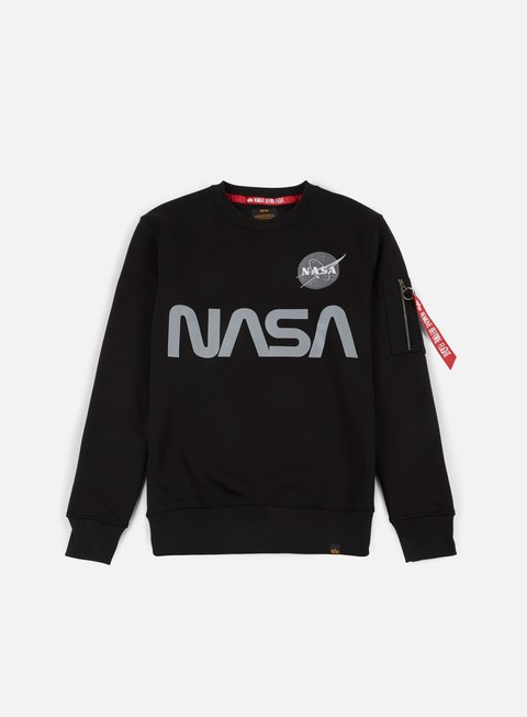 felpe alpha industries nasa reflective crewneck black