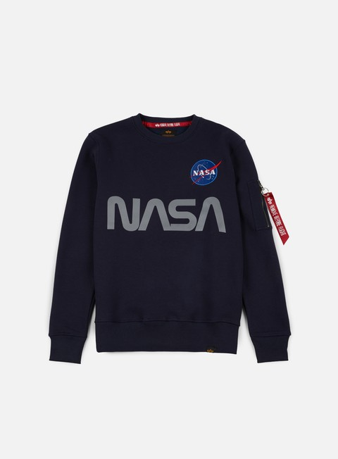 felpe alpha industries nasa reflective crewneck replica blue