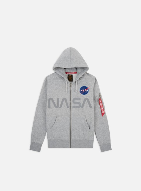 felpe alpha industries nasa reflective zip hoody grey heather