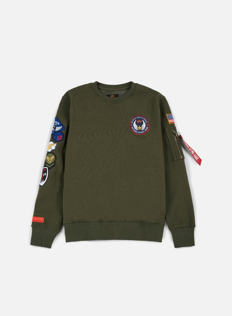 felpe alpha industries patch crewneck dark green