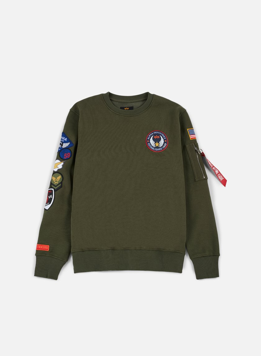 Alpha Industries - Patch Crewneck, Dark Green