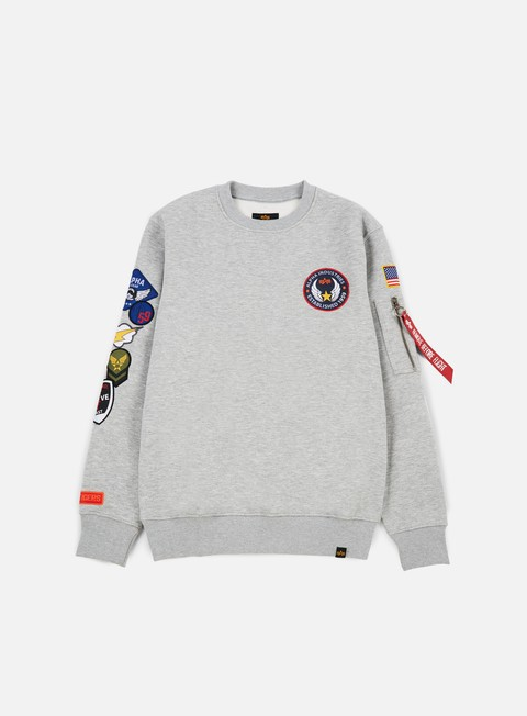 felpe alpha industries patch crewneck grey heather