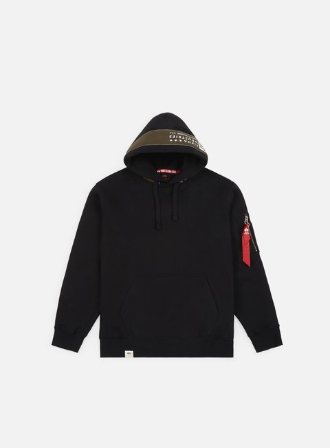 felpe alpha industries printed tape hoody black