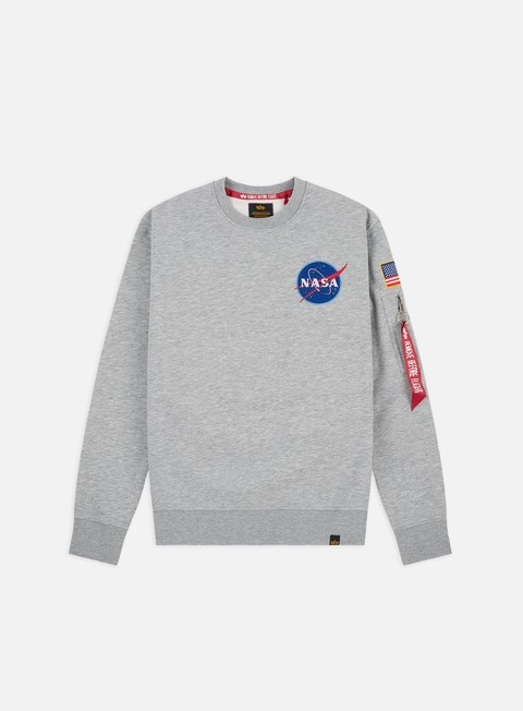 felpe alpha industries space shuttle crewneck grey heather