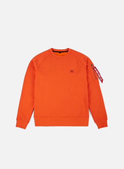 felpe alpha industries x fit crewneck flame orange