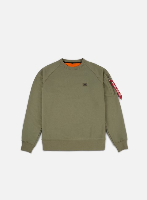 felpe alpha industries x fit crewneck olive