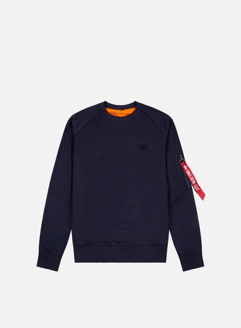 felpe alpha industries x fit crewneck replica blue