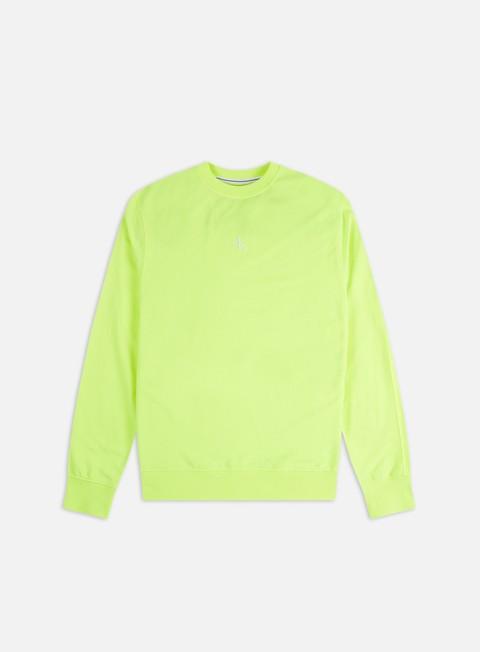 Outlet e Saldi Felpe Girocollo Calvin Klein Jeans Back Logo Neon Crewneck