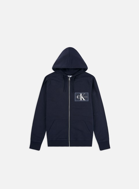 Hooded Sweatshirts Calvin Klein Jeans Chest Chambray Monogram Zip Hoodie