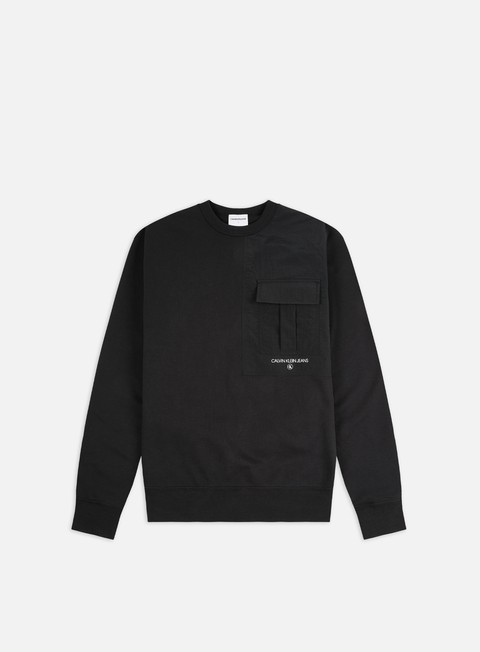 Felpe Girocollo Calvin Klein Jeans Distorted Monogram Back Print Crewneck