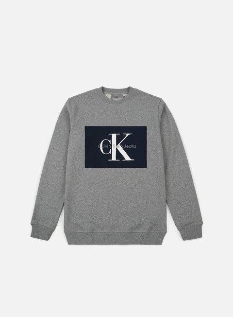 felpe calvin klein jeans hotoro crewneck light grey heather
