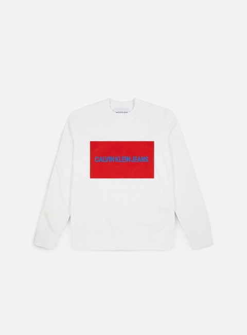 felpe calvin klein jeans institutional box logo crewneck bright white