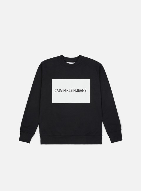 felpe calvin klein jeans institutional box logo crewneck ck black