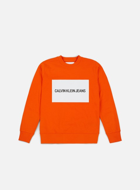 felpe calvin klein jeans institutional box logo crewneck orange tiger