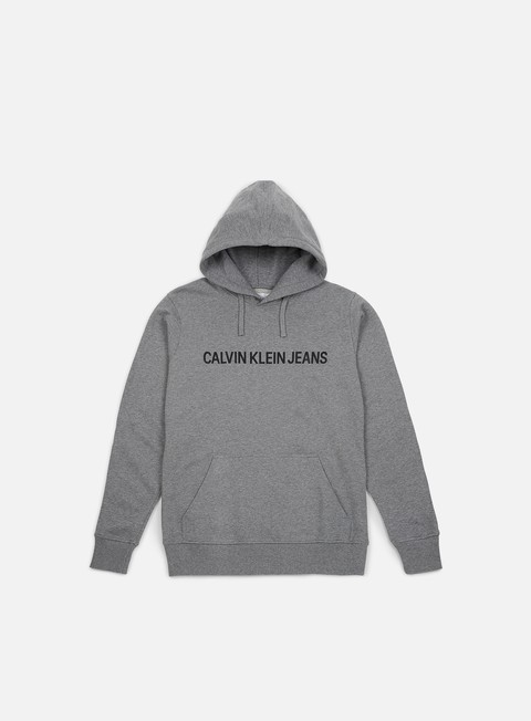 felpe calvin klein jeans institutional hoodie grey heather