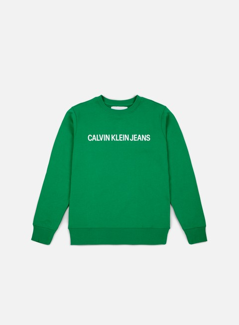 felpe calvin klein jeans institutional logo crewneck jolly green