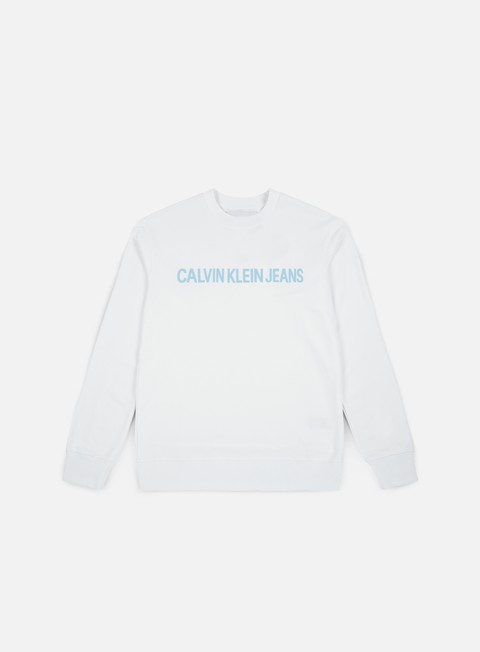 felpe calvin klein jeans institutionl logo crewneck bright white
