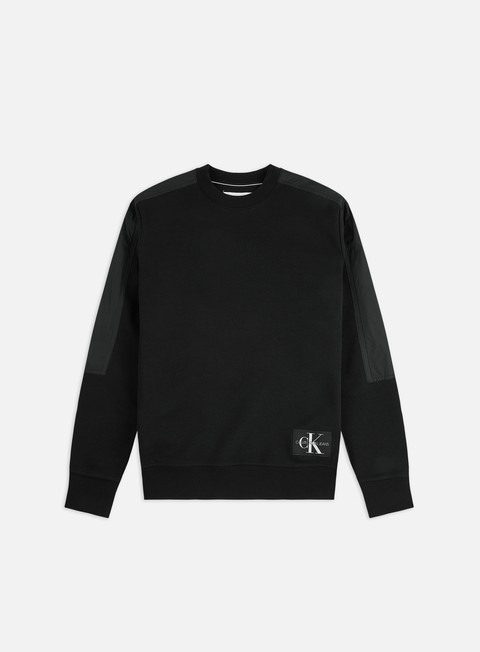 Calvin Klein Jeans Mixed Media Nylon Crewneck