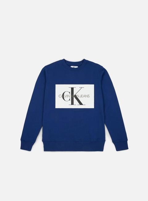 felpe calvin klein jeans monogram box logo crewneck blue depths