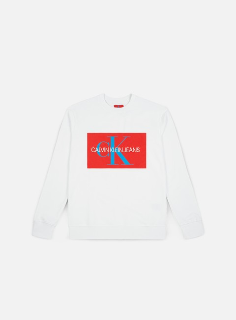 felpe calvin klein jeans monogram box logo crewneck bright white