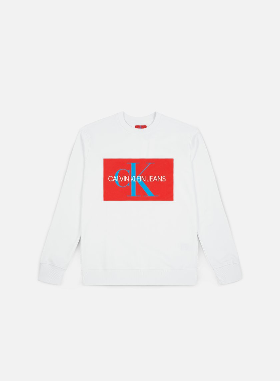 Calvin Klein Jeans MONOGRAM BOX LOGO CREW NECK - Sweatshirt - white GXrQLgemw