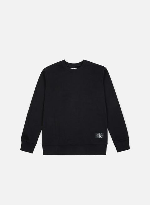 felpe calvin klein jeans monogram chest logo crewneck ck black