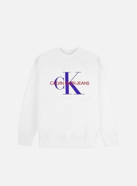 Outlet e Saldi Felpe Girocollo Calvin Klein Jeans Monogram Vneck Insert Crewneck