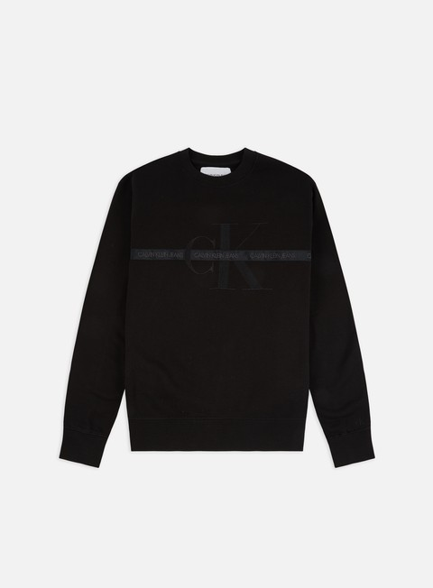 Sale Outlet Logo Sweatshirts Calvin Klein Jeans Taping Through Monogram Crewneck