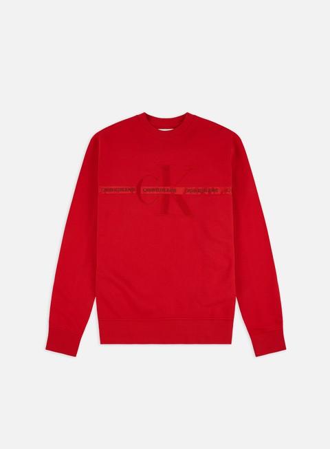 Outlet e Saldi Felpe Girocollo Calvin Klein Jeans Taping  Through Monogram Crewneck
