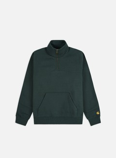 Carhartt - Chase Neck Zip Sweatshirt, Dark Teal/Gold