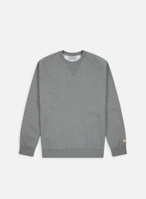 felpe carhartt chase sweatshirt dark grey heather gold