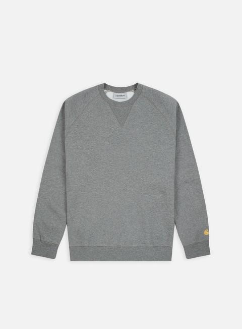 felpe carhartt chase sweatshirt dark grey heather gold