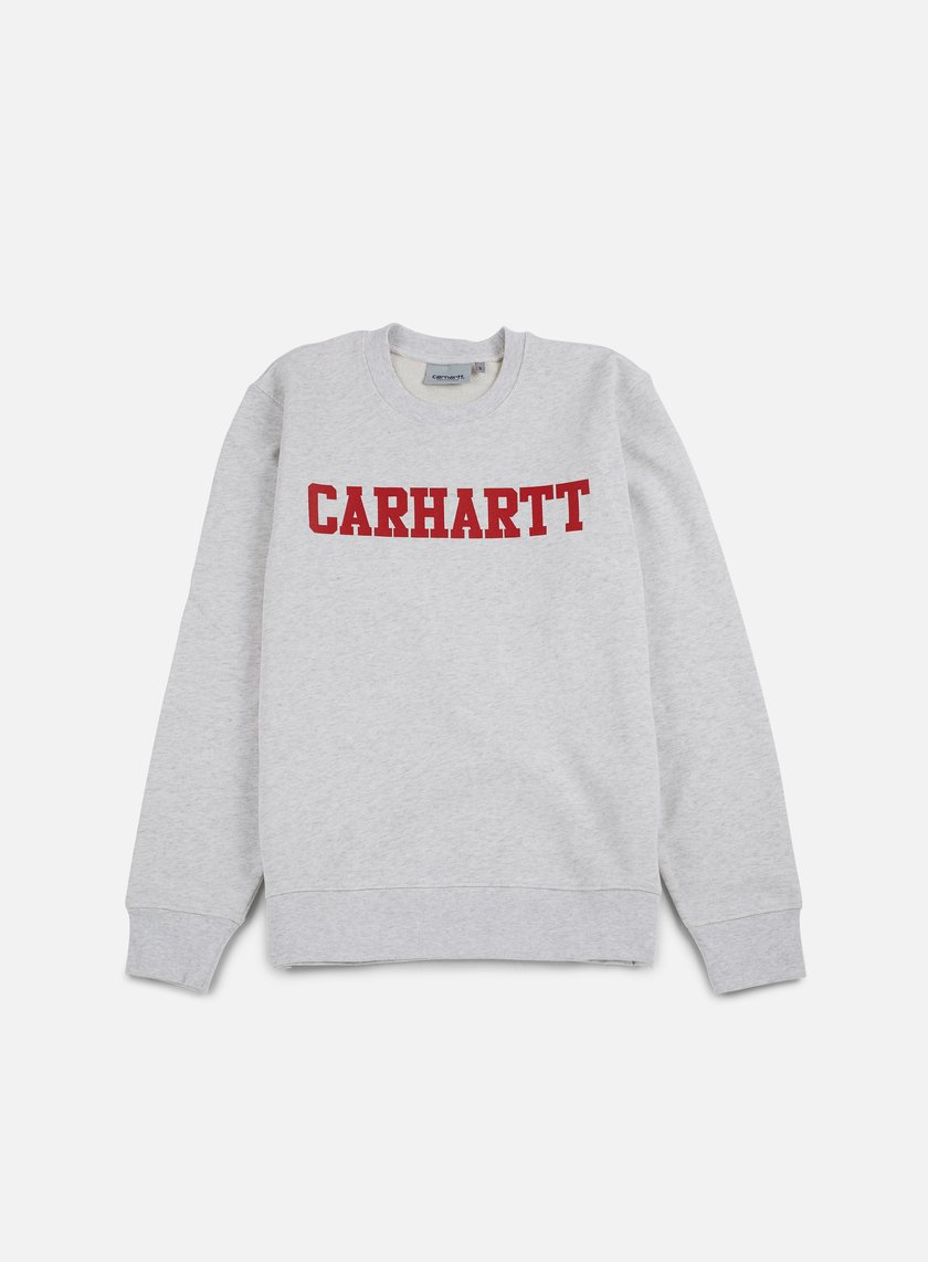 Carhartt - College Sweatshirt, Ash Heather/Chili
