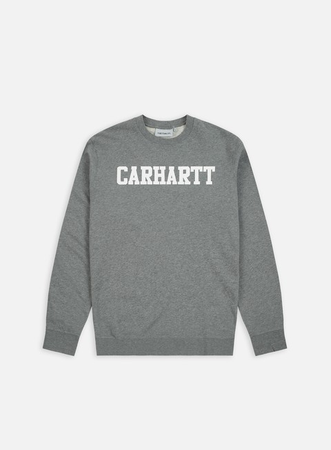 felpe carhartt college sweatshirt dark grey heather white