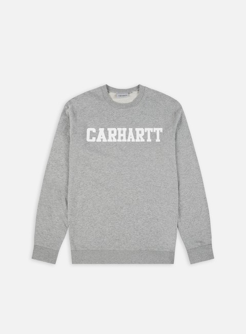 felpe carhartt college sweatshirt grey heather white