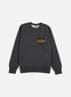 Carhartt - Eaton Pocket Sweatshirt, Black Heather/Green Ethnic Print