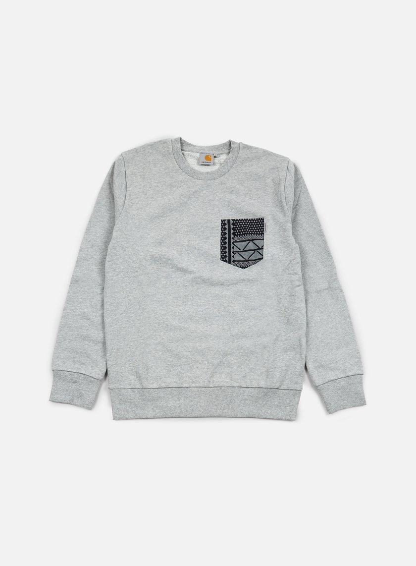 Carhartt - Eaton Pocket Sweatshirt, Grey Heather/Assyut Print Black